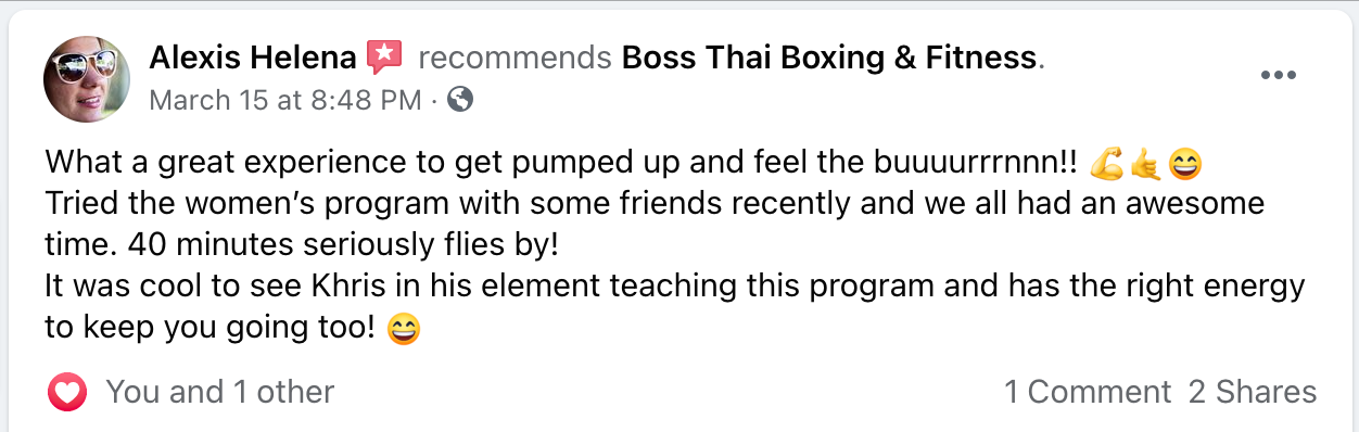 Five star Review of the women only class